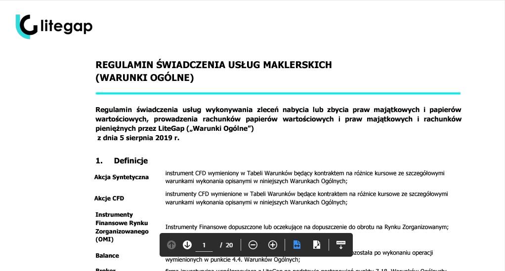 Des mentions légales dans une autre langue que celle de Litegap.com.