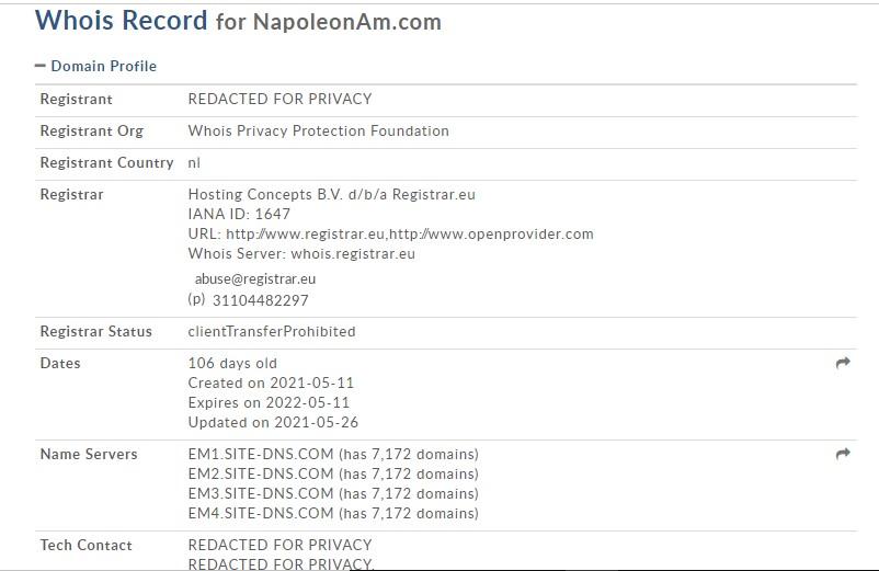 Créé pour un an, Napoleonam.com est un site d'arnaque.