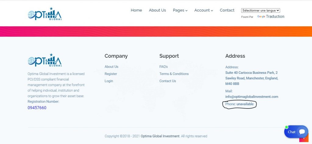 Le numéro de téléphone n'est pas indiqué sur Optimaglobalinvestment.com.