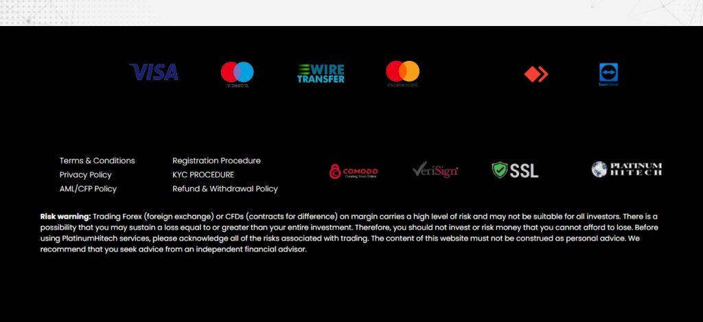 Le bas de page de Platinumhitech.com.
