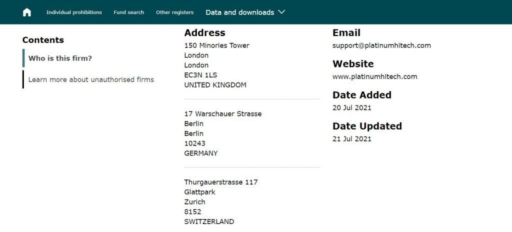 Les adresses de Platinumhitech selon la FCA sont différentes de celles que mentionne Platinumhitech.com. Mais cela ne rend pas pour autant le site fiable.