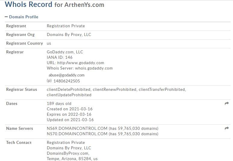 Le WHOIS de Arthenys.com est suspect.