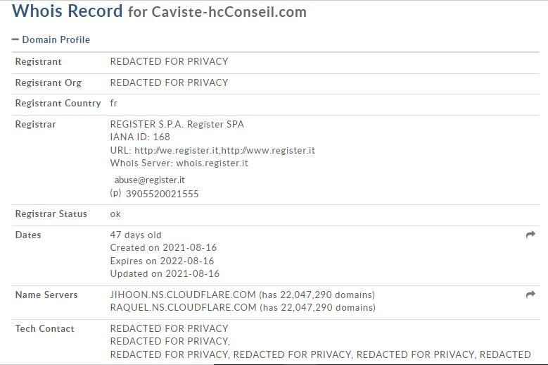 Le WHOIS de Caviste-hcconseil.com/fr/admin/login.